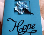 Hope Card Flower And Bird Teal Black Encouragement