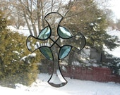 Stained Glass Colored Bevels Beveled Celtic Cross Turquoise