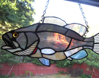 Striper Large Mouth Bass Stained Glass Striped steelhead Bass Great gift for any fishing lover