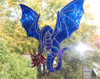 Master Stoorworm Fire Breathing Stained Glass Dragon in Iridescent Cobalt Blue