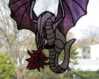 Icefyre Fire Breathing Stained Glass Dragon in Iridescent Deep Purple