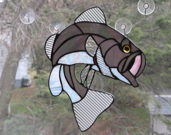 Gray Large Mouth Striped Striper Bass Suncatcher Stained Glass