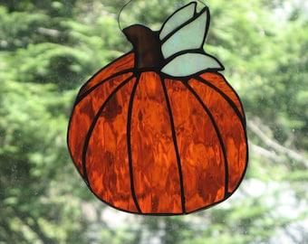 Brilliant Orange Pumpkin Suncatcher