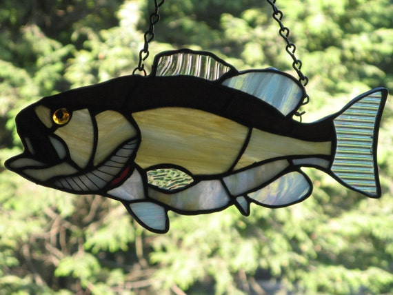 Large Mouth Bass Stained Glass iridescent gold brown Great gift idea