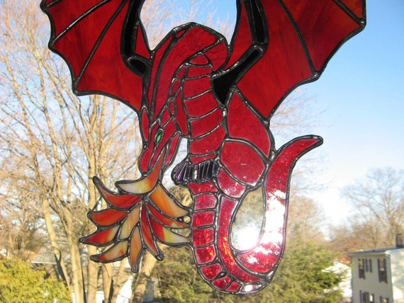 Fire Breathing Stained Glass Dragon in Iridescent RED and Red Orange wings with Black Arms