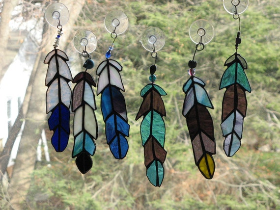 Indian Chief  Eagle Feather  stained glass Beads copper or black patina