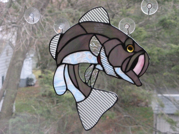 Gray Large Mouth Striped  Bass Suncatcher Stained Glass  OOAK