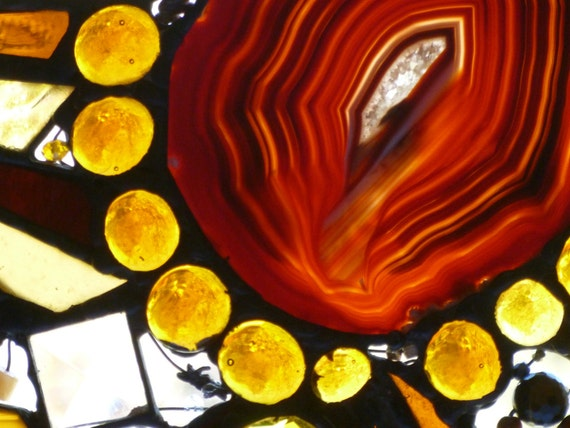 Amber Dreams No 2   Stained Glass Amber Abstract Mixed media Art Panel