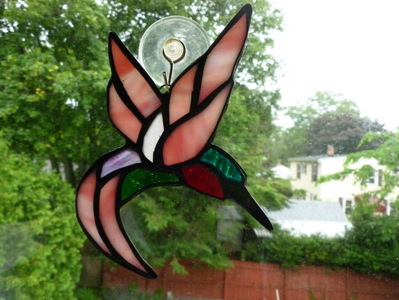 stained glass iridescent hummingbird colorful  amazing Sun Light Catcher some Ruby throated