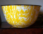 Big and Beautiful Vintage Enamelware Bowl - Yellow and White with Marbleized Design