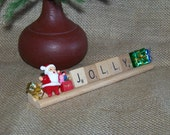 Jolly Scrabble Tile Display/Vintage Scrabble and Santa