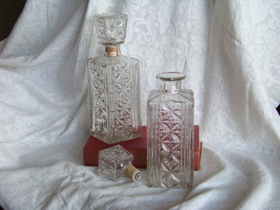 Vintage Glass Decanter Pair with Stoppers Hollywood Style