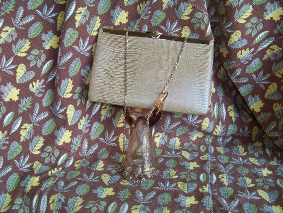 Vintage Etra Leather Lizard / Snakeskin Clutch Purse Tan and Brown