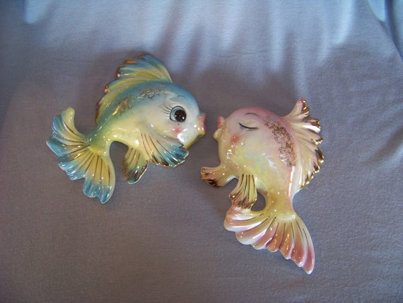 Vintage 1950 S Ceramic Kissing Fish Couple Wall Hanging