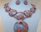 Crochet Mokume Gane  Polymer Clay Necklace and Earring Set