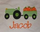 Custom boutique appliqued monogrammed tractor pumpkins tee tshirt t shirt onesie fall halloween thanksgiving