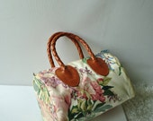 Reserved for Jeanie .Summer  vintage 90s doctor  satchel with  flowers print.Made by Nordic House Designs,NYC