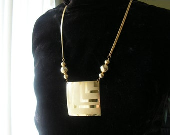 Modernist Vintage 80s geometric style  necklace with chunky  square  pendant.