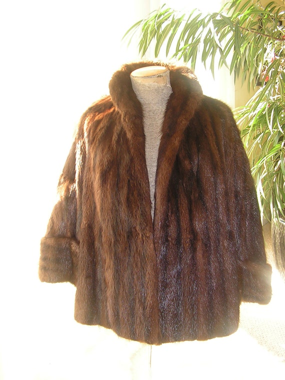 Luxurious vintage 50s chocolate brown glossy, genuine mink , swing style coat  from Wurzburg of  Grand Rapids.