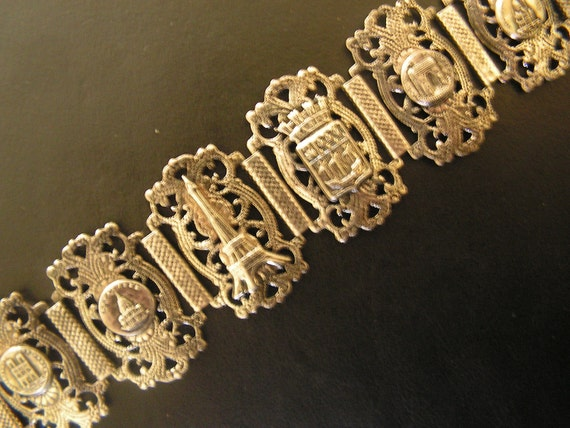 Victorian style vintage 20s   sterling silver souvenir, adjustable , large bracelet with scene of Paris. Made by Depose.
