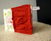 SALE -- Lovely Gus - Church Flowers, Pink Zipped Pouch with Red Ruffle (large size)