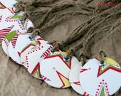 Blank Mini Holiday Gift Tag Set of 10, Star Design, Double Sided, Handmade Paper Goods by mad4plaid on Etsy