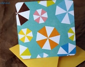 Blank Mini Card Set of 10, Summer Umbrella Design with Contrasting Pattern on the Inside, Lemon Yellow Envelopes, mad4plaid on Etsy