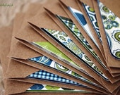 Blank Mini Card Set of 10, Asst Patterns with Contrasting Patterns on the Inside, Natural Kraft Envelopes, mad4plaid