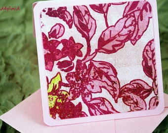 Blank Mini Card set of 10, Graphic Floral on Pink, Pale Pink Envelopes, Handmade Paper Goods by mad4plaid on Etsy