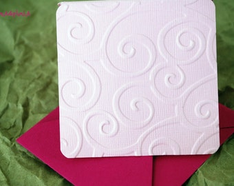 Blank Mini Card Set of 10, Embossed Pink Swirl Design, Bright Pink envelopes, Handmade Paper Goods by mad4plaid on Etsy