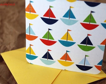 Blank Mini Card Set of 10, Cute Sailboat Design with Contrasting Polka Dot Design on the Inside, Bright Yellow Envelopes, mad4plaid on Etsy