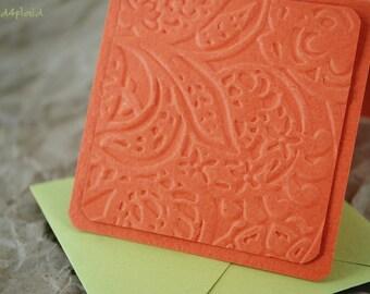 Blank Mini Set of 10 Cards, Tropical Orange Embossed Design, Metallic Lime Envelopes, Handmade Paper Goods by mad4plaid on Etsy