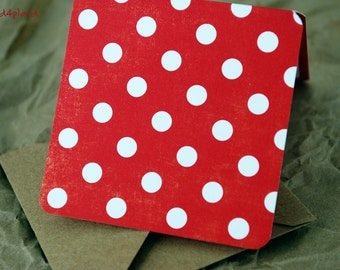 Blank Mini Card Set of 10, Holiday Polka Dots with Contrasting Stripe, Natural Kraft Envelopes, mad4plaid on Etsy
