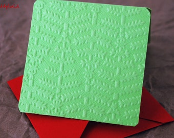 Blank Mini Holiday Card Set of 10, Embossed Tree Design on Lime Green, Bright Red Envelopes, mad4plaid