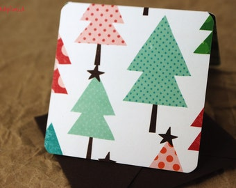 Blank Mini Holiday Card Set of 10. Christmas Tree Graphic with Contrasting pattern on the Inside, Chocolate Brown Envelopes, mad4plaid