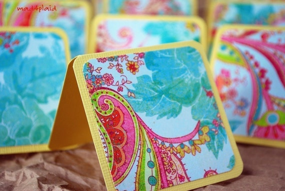 Blank Mini Card Set of 10 Pretty Floral with Natural Kraft Envelopes Handmade Paper Goods by mad4plaid on Etsy