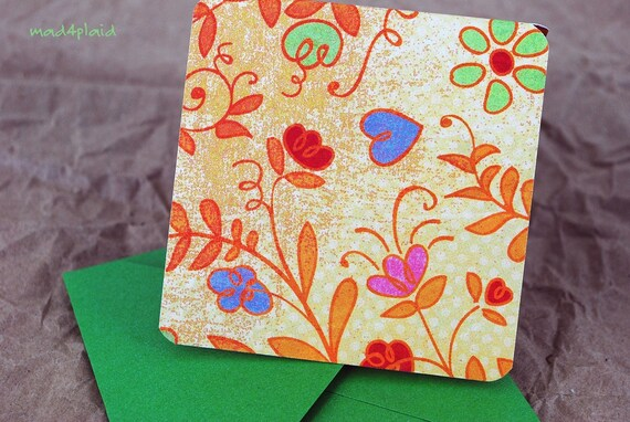 Blank Mini Card Set of 10, Orange Floral with Contrasting Stripe on the Inside, Metallic Green Envelopes, mad4plaid on Etsy