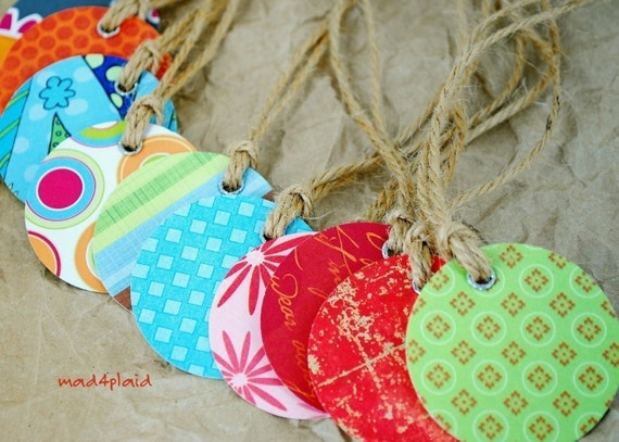 Blank Set of 10 Mini Gift Tags, Double Sided, Assorted Patterns Handmade Paper Goods by mad4plaid on Etsy