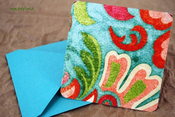 Blank Mini Card Set of 6, Watercolor Floral with Metallic Turquoise Envelopes, Handmade Paper Goods by mad4plaid on Etsy