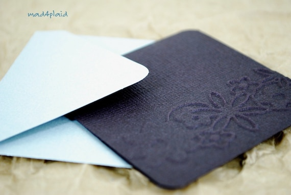 Blank Mini Card Set of 6 Soft Black Embossed with Metallic Gray Envelopes, Handmade Paper Goods by mad4plaid on Etsy