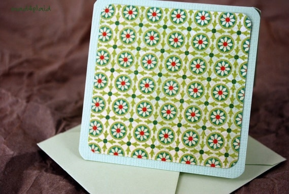 Blank Mini Card Set of 10, Mini Geometric Watercolor Floral on Sprout Green, Pale Green Envelopes, Handmade Paper Goods by mad4plaid on Etsy