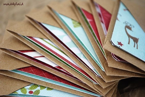 Blank Mini Holiday Card Set of 10, Asst Patterns with Contrasting Patterns on the Inside, Natural Kraft Envelopes, mad4plaid