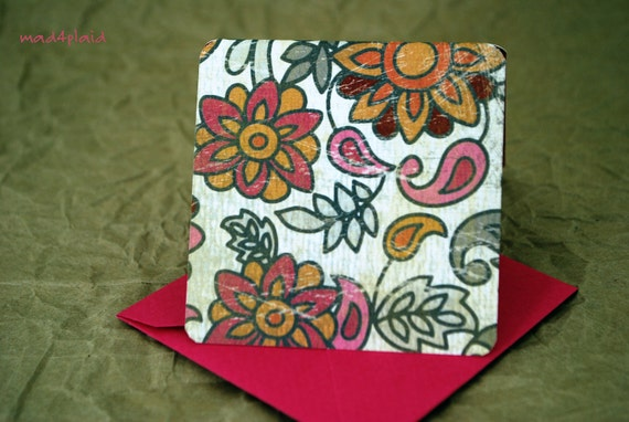 Blank Mini Card Set of 10, Indie Floral Design with Contrasting Pattern on the Inside, Bright Pink Envelopes, mad4plaid on Etsy