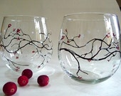 Winter berry. Hand Painted Stemless Wine Glasses (set of 2).