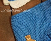 Infant Newborn Boy Crochet Shorts with Matching Newsboy Style Hat