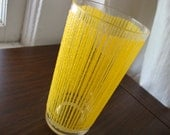Vintage Georges Briard iced tea glass, clear with golden yellow stripes, single one glass only