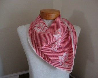 Echo scarf vintage scarf vintage echo silk scarf large red scarf square scarf peppermint stripes hibiscus flowers red and white echo club 7