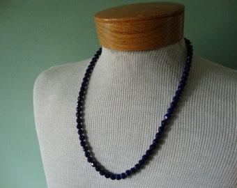 Vintage necklace Vintage jewelry Vintage costume jewelry Vintage 1950 necklace glass bead necklace purple necklace cabochon closure