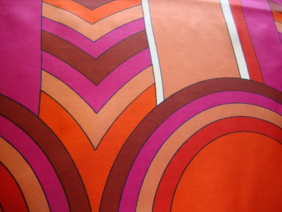 RESERVED Orange and Fuchsia mod circles, vintage scarf neckerchief
