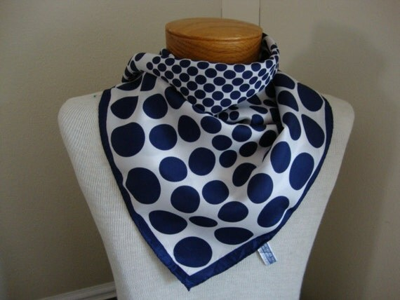 RESERVED Navy Blue Polka Dots, vintage scarf neckerchief